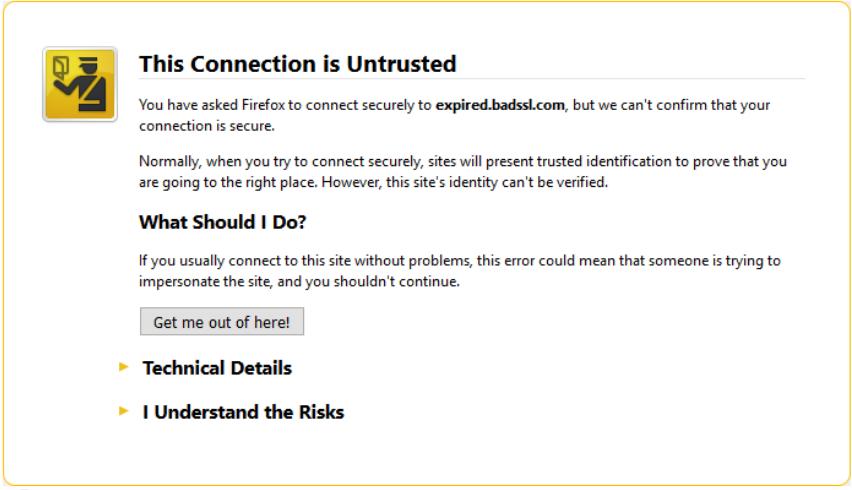 TLS Warning Page in Firefox